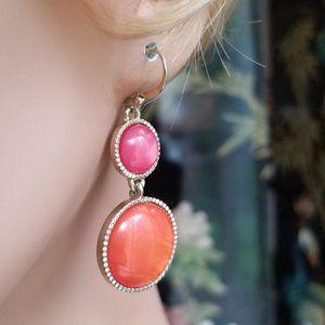 Pair of Orange Pink Circle Drop Pierced Earrings